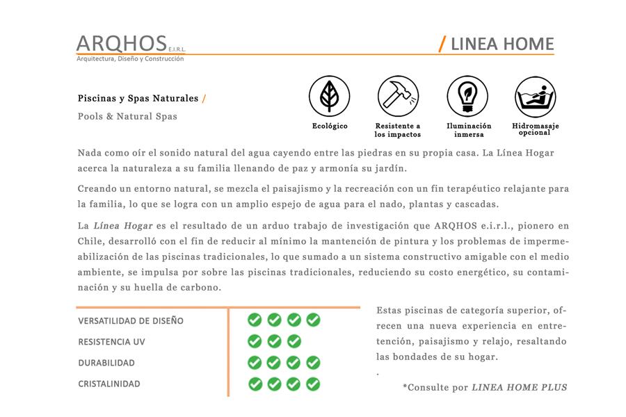 Linea Home ARQHOS, Piscinas Naturales